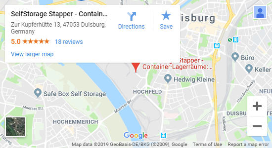 Karte SelfStorage Stapper Duisburg - Self-Storage